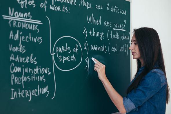 Professora de sucesso escrevendo em inglês na lousa